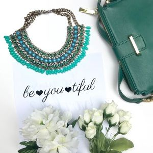Zara turquoise green beaded necklace